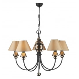 PP57 Spearhead 5 Light Ceiling Fitting In Black and Bronze Finish