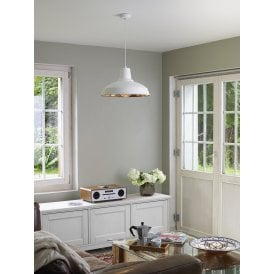 REC0102 Reclamation Single Light Ceiling Pendant In White Finish And Copper Effect Interior