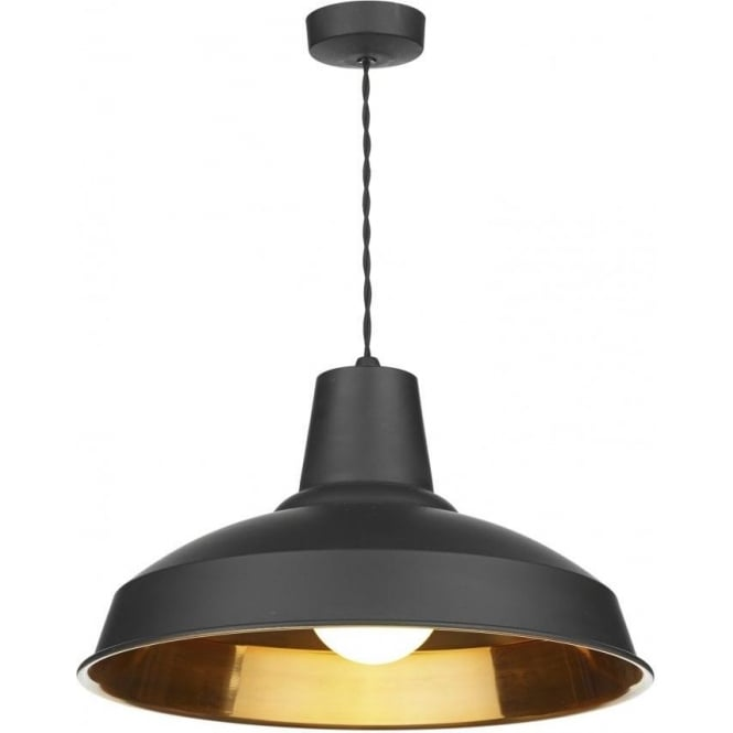 David Hunt Lighting Reclamation Single Light Ceiling Pendant with a Black Finish and Copper Effect Interior