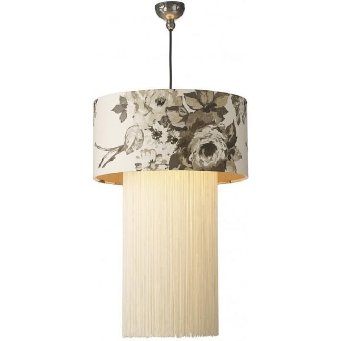 David Hunt Lighting Rembrant Ceiling Light Shade With Clarke & Clarke Romana Fabric In Natural