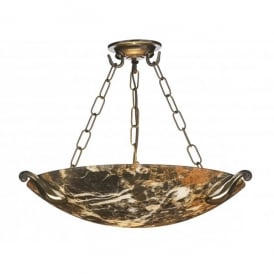 Savoy Single Light Pendant with Dark Marble Effect Glass and Bronze Finish