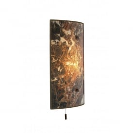 Savoy Single Light Switched Wall Fixture with Dark Marble Effect Glass