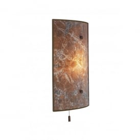 Savoy Single Light Switched Wall Fixture with Light Marble Effect Glass