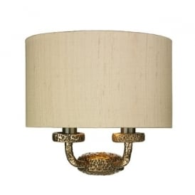 SLO3000/GD Sloane 2 Light Wall Fitting with a Hammered Bronze Finish and Silk Shade