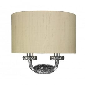 SLO3099/SI Sloane 2 Light Wall Fitting with a Hammered Pewter Finish and Silk Shade