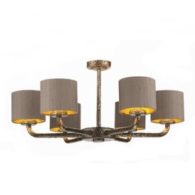 SLO600/GD Sloane 6 Light Ceiling Pendant in Rich Bronze with Silk Shades