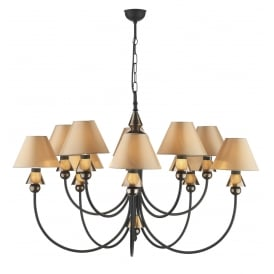 Spearhead 10 Light Ceiling Fitting In Black and Bronze Finish