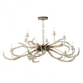 STA2315 Stag 10 Light Ceiling Pendant in Bleached Finish