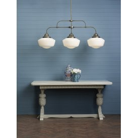 STO0312 Stowe 3 Light Ceiling Pendant in Solid Antique Brass Finish with Handblown Opal Glass
