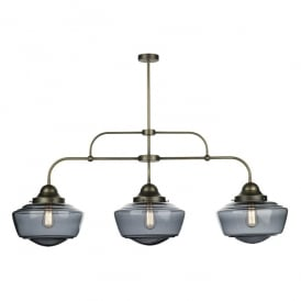 Stowe 3 Light Ceiling Pendant in Solid Antique Brass Finish with Handblown Smoked Glass