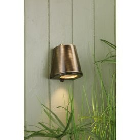 STR1575 Strait Single LED Outdoor Wall Fitting Made From Solid Brass in Antique Brass Finish