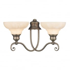 Stratford 2 Light Wall Light Fitting In Aged Brass Finish With Marble Effect Glass Shades