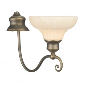 Stratford Single light Wall Light Fitting In Aged Brass Finish With Marble Effect Glass Shades