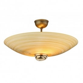 SWF5863 Swirl 2 Light Amber Semi Flush Ceiling Fitting in Bronze Finish
