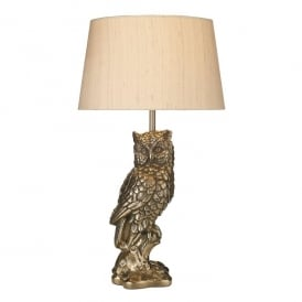 Tawny Single Light Table Lamp In Bronze Finish With Taupe Silk Shade