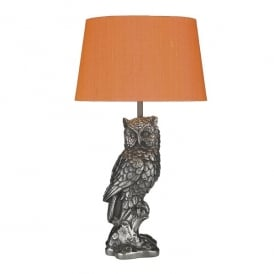 Tawny Single Light Table Lamp In Steel Finish With Firefly Orange Silk Shade