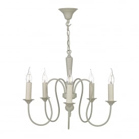 THE052 Therese 5 Light Chandelier In French Cream Finish With Optional Candle Clip Shades