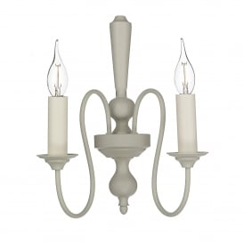 THE092 Therese 2 Light Wall Fitting In French Cream Finish With Optional Candle Clip Shades