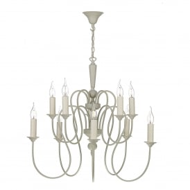 THE232 Therese 10 Light Chandelier In French Cream Finish