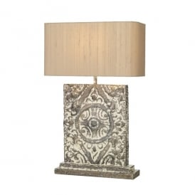 Tile Single Light Table Rectangular Lamp In Stone Bronze Finish With Silver Grey Silk Shade