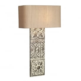 Tile Single Light Wall Fitting In Stone Bronze Finish With Silver Grey Silk Shade
