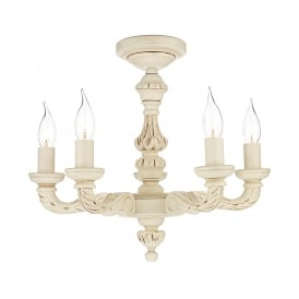Tudor 5 Light Ceiling Fitting In Distressed Old Ivory Finish