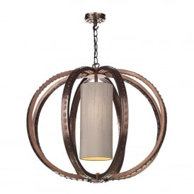 Twain Single Light Ceiling Pendant in Copper Finish Complete with 100% Silk Shade