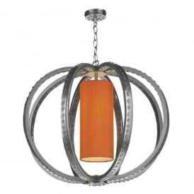 Twain Single Light Ceiling Pendant in Pewter Finish Complete with 100% Silk Shade