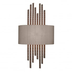 Twain Single Light Wall Fitting in Copper Finish Complete with 100% Truffle Silk Shade