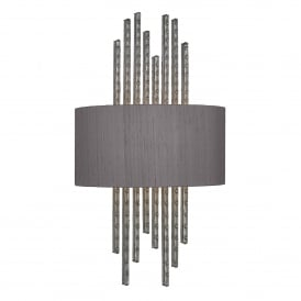 Twain Single Light Wall Fitting in Pewter Finish Complete with 100% Charcoal Silk Shade