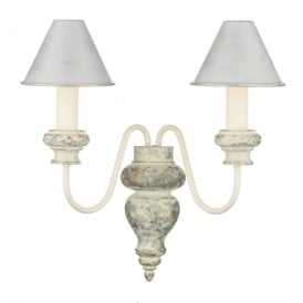 VER0912 Verona 2 Light Distressed French Cream Wall Fixture