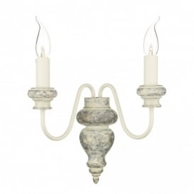 VER0912 Verona 2 Light Wall Fitting in Distressed Cream Finish