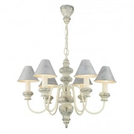 Verona 6 Light Distressed French Cream Chandelier with Metal Shades