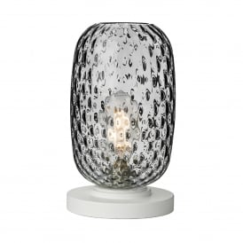 VID4210 Vidro Single Light Small Table Lamp in White Finish Complete with Smoked Glass Shade
