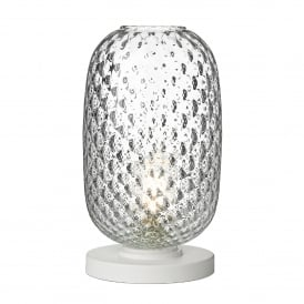 VID4308 Vidro Single Light Large Table Lamp in White Finish with Clear Glass Shade