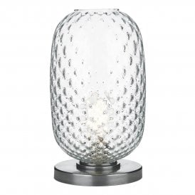VID4308PW Vidro Single Light Large Table Lamp in Pewter Finish with Clear Glass Shade