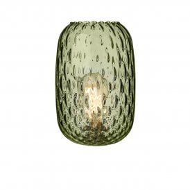 Vidro Small Dimpled Clear Olive Green Glass Shade