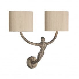 VIS0963 Visconti 2 light Wall Fitting In Rustic Bronze Finish With Taupe Silk Shades