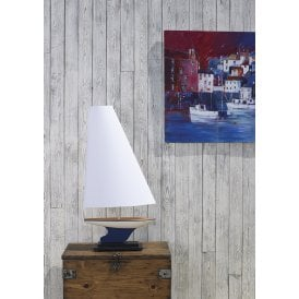 YAC4355 Yacht Single Light Table Lamp In Blue And White Finish With Sail Shaped Cotton Shade