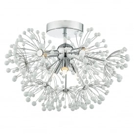 Davine 6 Light Flush Ceiling Fitting in Polished Chrome Finish with White Glass