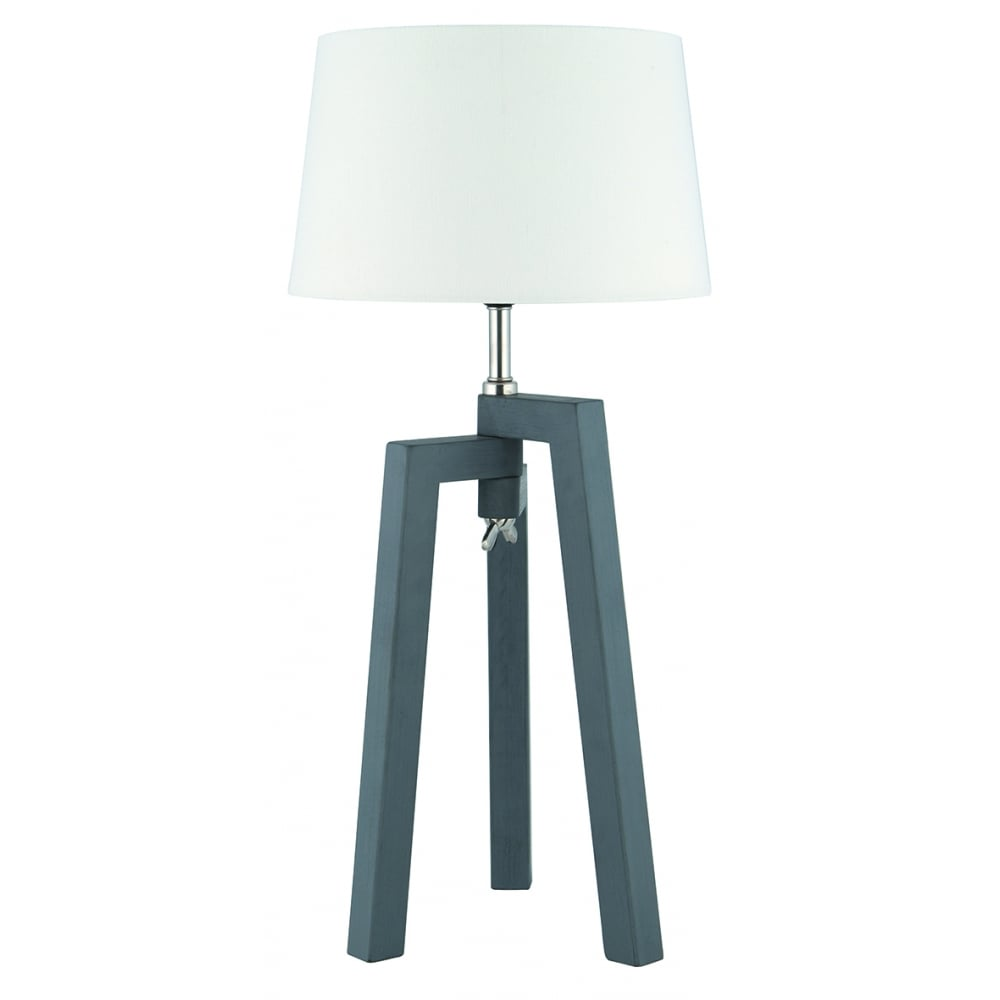 pacific lifestyle dax single light grey wooden tripod table lamp with white c. Black Bedroom Furniture Sets. Home Design Ideas