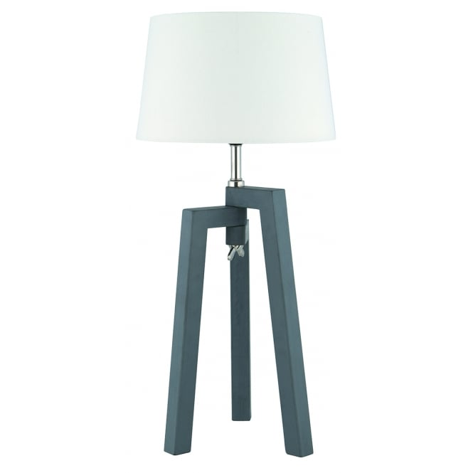 pacific lifestyle dax single light grey wooden tripod table lamp with white cotton shade. Black Bedroom Furniture Sets. Home Design Ideas