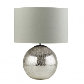 Dazzle Single Light Table Lamp With Cracked Mirror Effect Base And Grey Fabric Shade