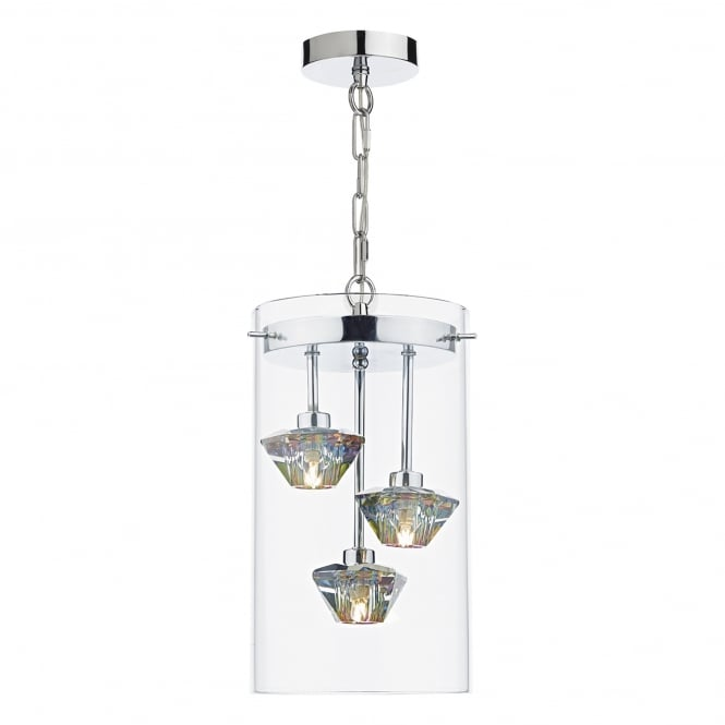 Dar Lighting Decade 3 Light Ceiling Pendant in Polished Chrome Finish with Glass
