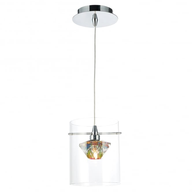 Dar Lighting Decade Single Light Pendant in Polished Chrome Finish with Glass