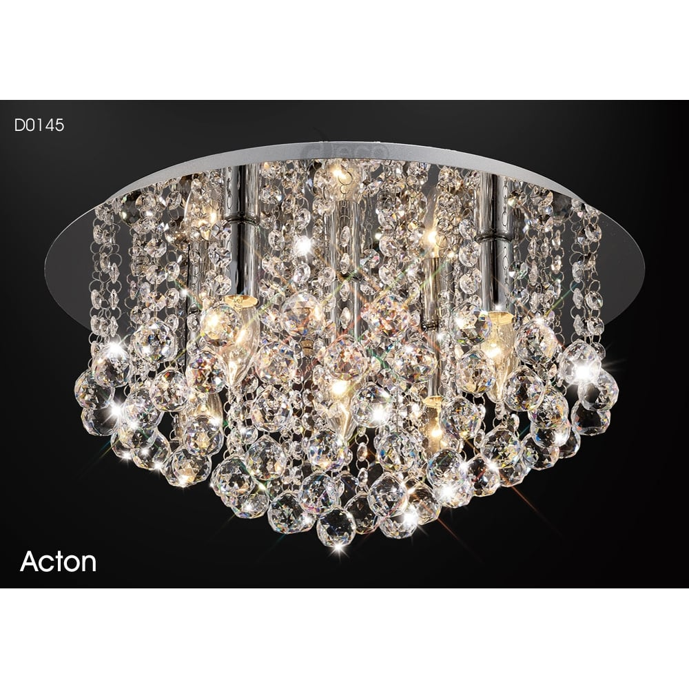 Acton 5 Light Large Round Flush Ceiling Fitting In Polished Chrome Finish With Crystals