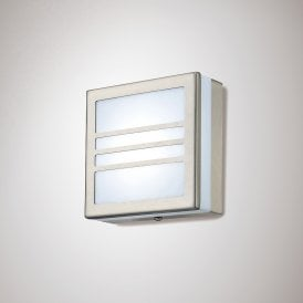Aldo 2.4w Integrated LED Outdoor Square Louvre Wall Or Ceiling Fitting in Stainless Steel Finish