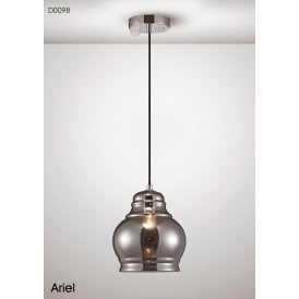 Ariel Single Light Large Ceiling Pendant in Polished Chrome Finish with Smoked Glass