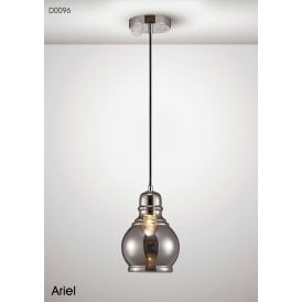 Ariel Single Light Medium Ceiling Pendant in Polished Chrome Finish with Smoked Glass