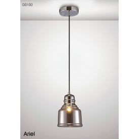Ariel Single Light Small Ceiling Pendant in Polished Chrome Finish with Smoked Glass